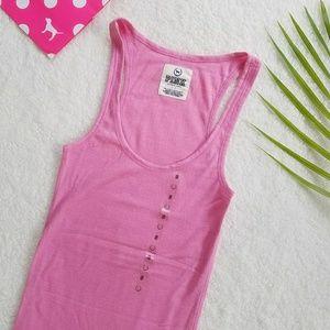 Victoria's Secret PINK Ribbed Tank Top Long Logo